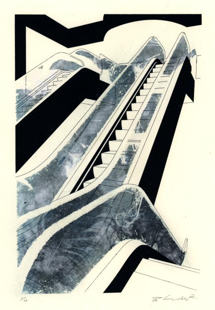 """Escalator"" screen-print and photocopy transfer"