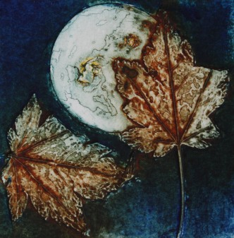 """""""Falling Leaves"""" Collograph"""