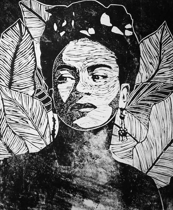 """Frida Kahlo"" Lino-cut"