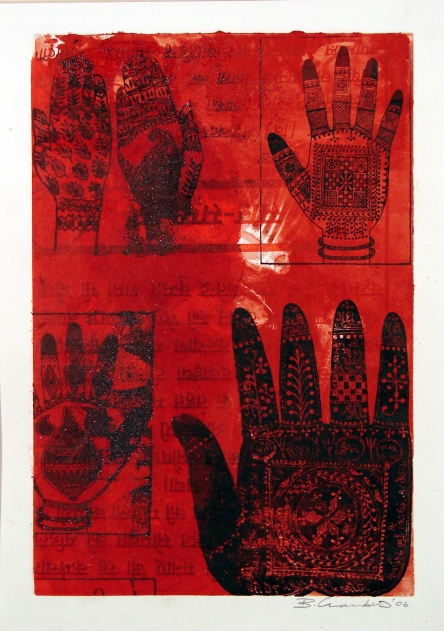 """Menhadi Hands"" Screen-print and mono-type"
