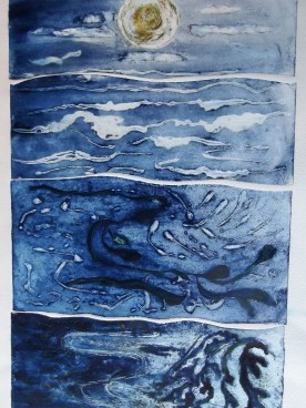 Sea scape collagraph print