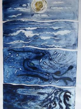 Sea scape collagraph print